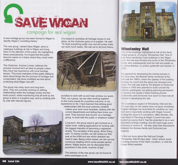 Save Wigan article in the Local Life magazine